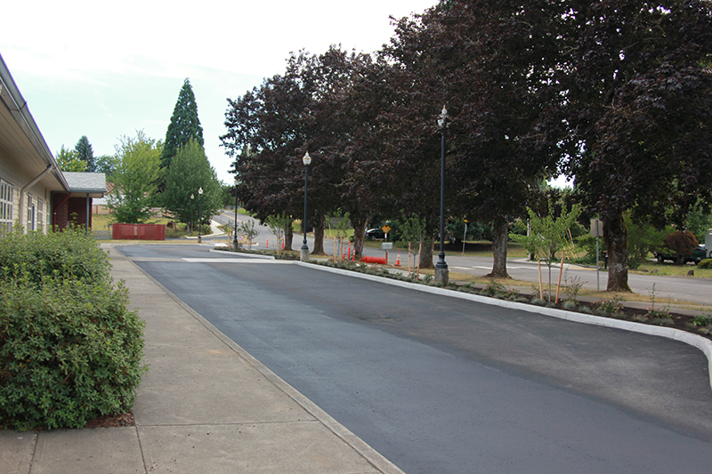 West drive paved and prepped for striping, showing curb and trees