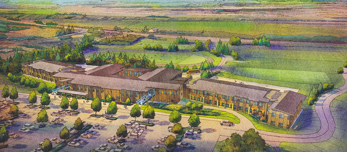 Artists rendering of the completed Columbia River Gorge Elementary and Jemtegaard Middle School as viewed from the North.
