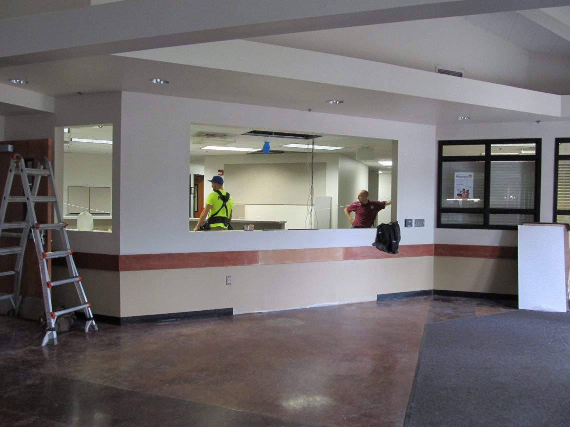 Construction workers at the WHS entry on July 13.