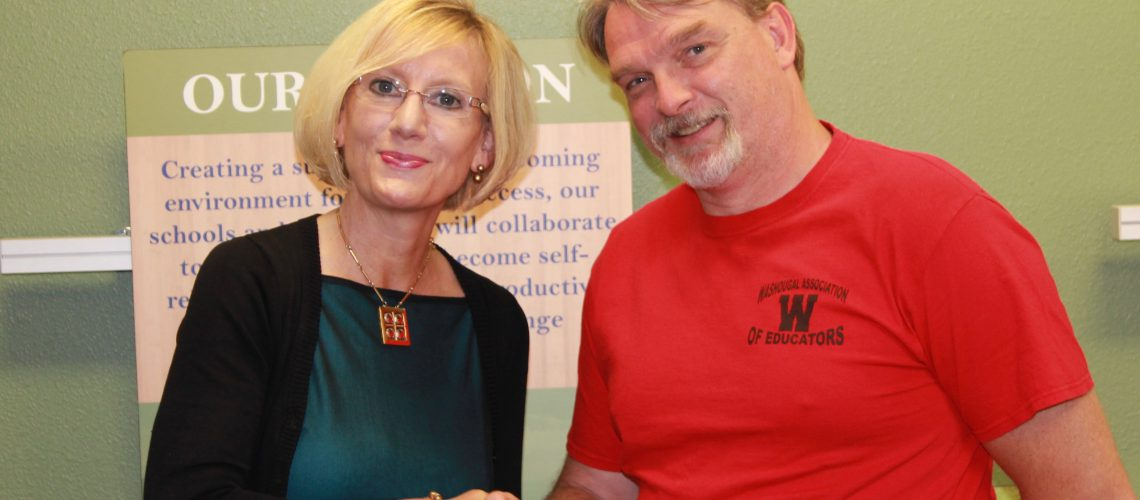 Dr. Mary Templeton and WAE President Eric Engebretson