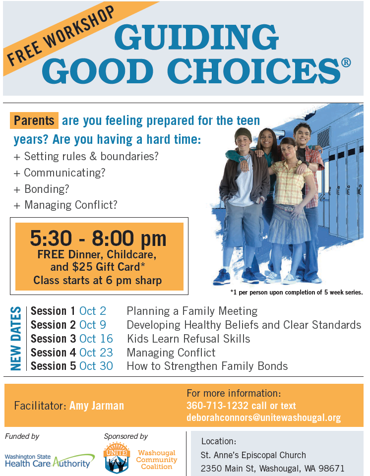 Good choices flier free dinner, child care, gift card, starts at 6 pm 5 weeks in october