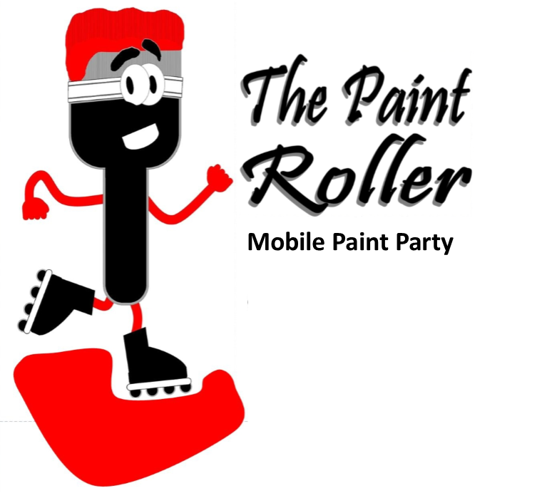 The Paint Roller mobile paint party logo with rollerskating paint brush