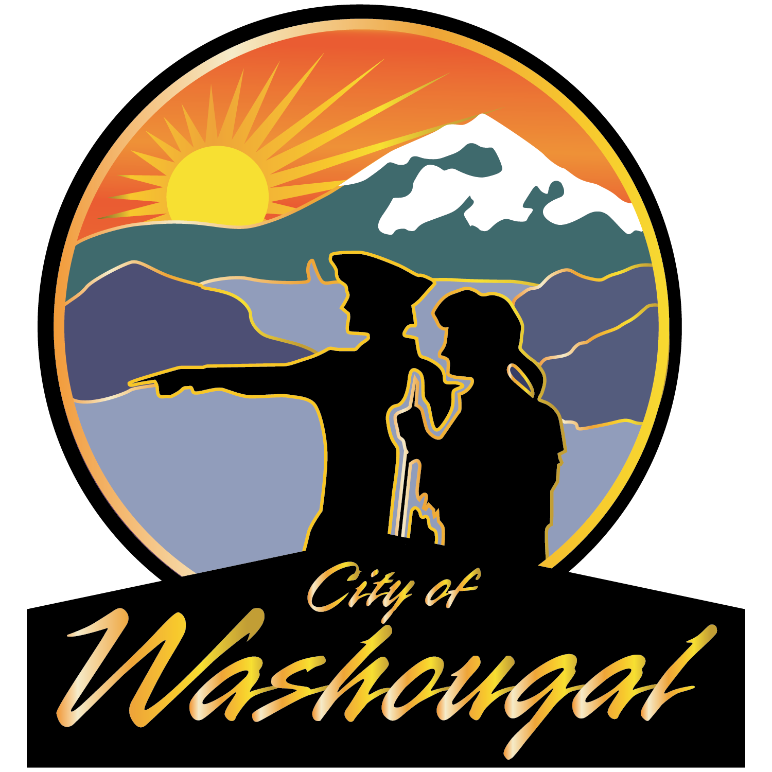 City of Washougal logo with Lewis & Clark silhouette in front of columbia gorge and Mt. hood