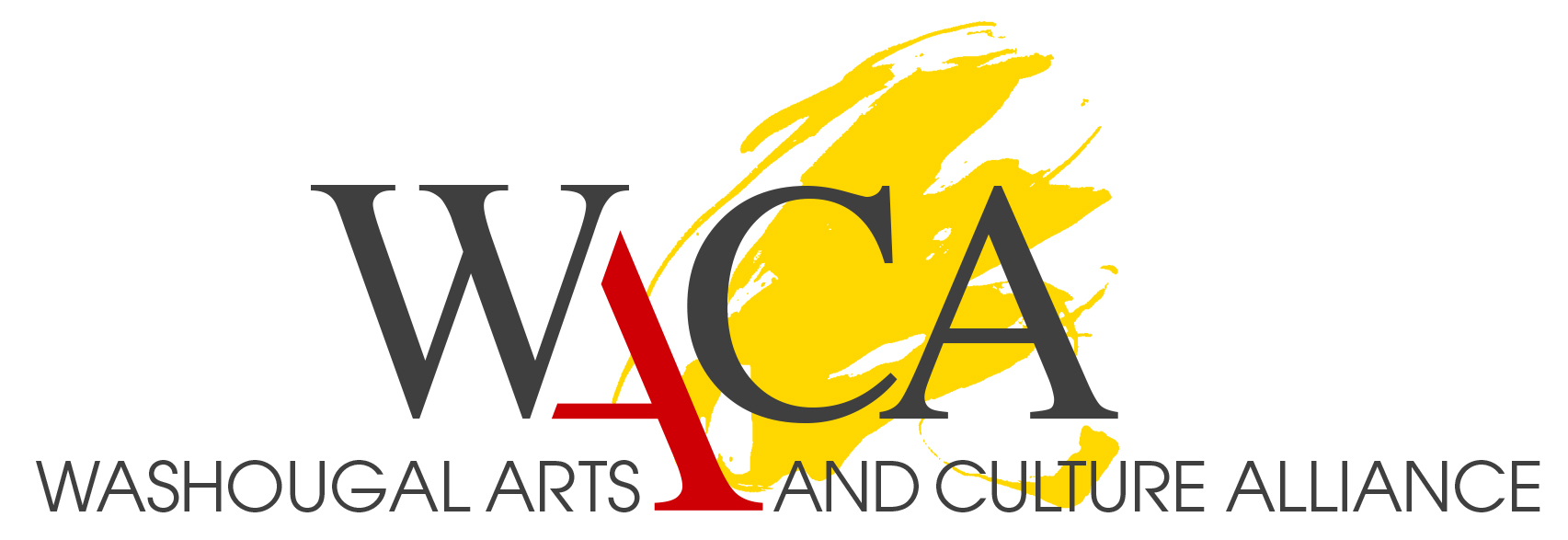 Washougal Arts adn Culture Alliance logo with yellow paint behind letters