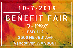 10-7-2019 Benefit Fair 3-8 PM ESD 112 2500 NE 65th Ave Vancouver WA on a colored feather background with a grey box.