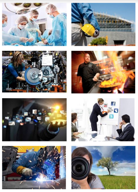 8 tile image showing people working in various fields, like medical, photography, welding, business presentations, culinary arts, diesel mechanics, and heavy industry or construction