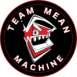 Team Mean Machine logo, black circle with a robot mouth open with metal teeth
