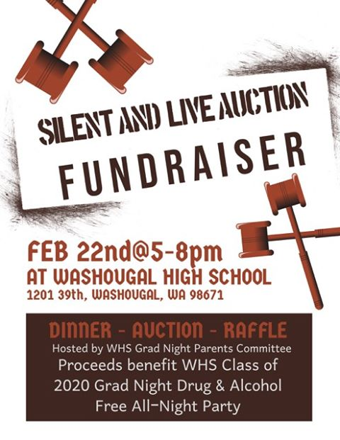 Silent and life auction fundraiser feb 22nd at 5-8PM at Washougal High School 1201 39th St Washougal WA 98671 Dinner auction raffle hosted by WHS Grad Night Parents Committee proceeds go to WHS Class of 2020 Grad Night Drug & Alcohol Free party with gavels on white background.