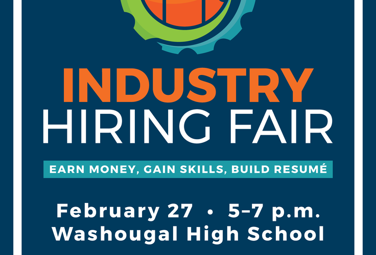 Industry hiring fair logo green/blue circle with orange icons of people. Feb 28 5-8 PM at Washougal High School with link to page for info