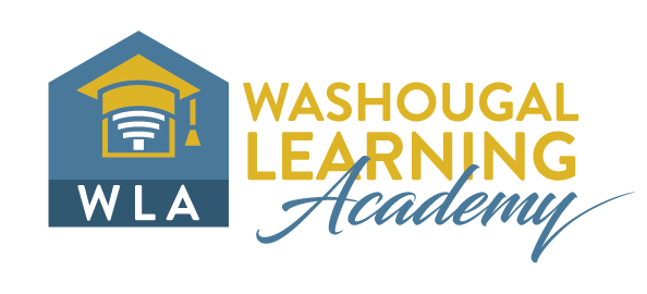 WLA Washougal Learning Academy with house shaped symbol with wifi arches under a grad cap