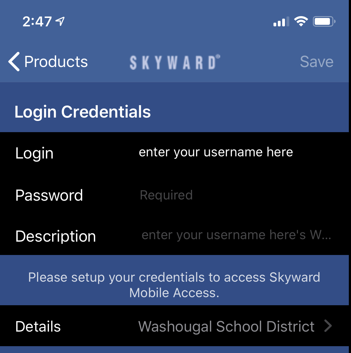 Skyward login page showing password entry dialog