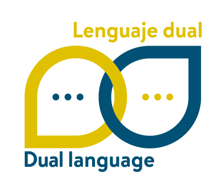 Dual language lenguaje dual logo with blue and yellow chat bubbles and three dots in each bubble