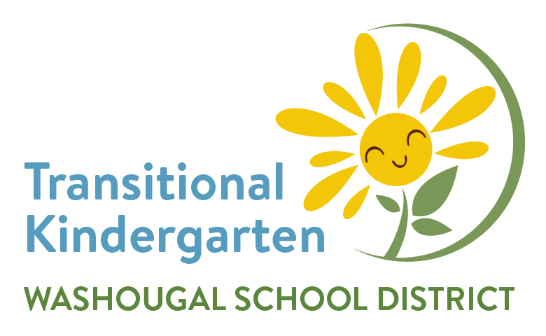 Yellow flower with smiley face and green half circle with blue words Transitional Kindergarten and Washougal School District