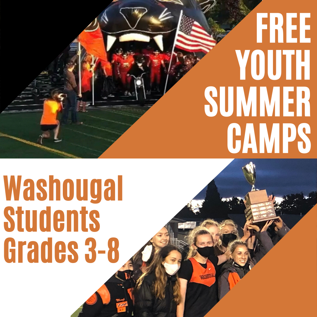 Free Youth Summer Camps Washougal Students Grade 3-8 with students holding trophee and student existing panther tunnel on orange and black background