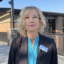 Dr. Mary Templeton in front of Jemtegaard Middle School